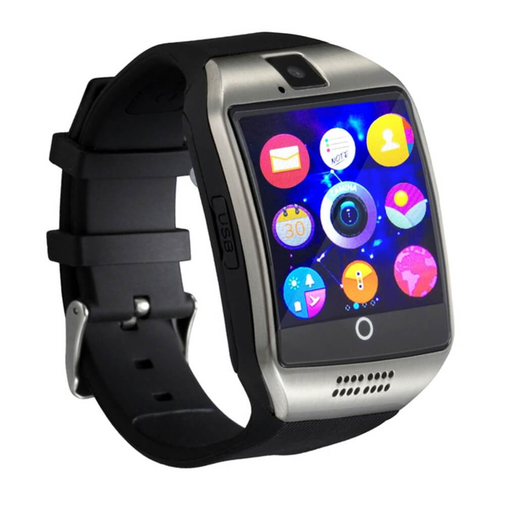 Q18 Smartwatch Phone SILVER - Έξυπνο ρολόι κινητό τηλέφωνο με Ελληνικά και  Sim Card 986389554f6